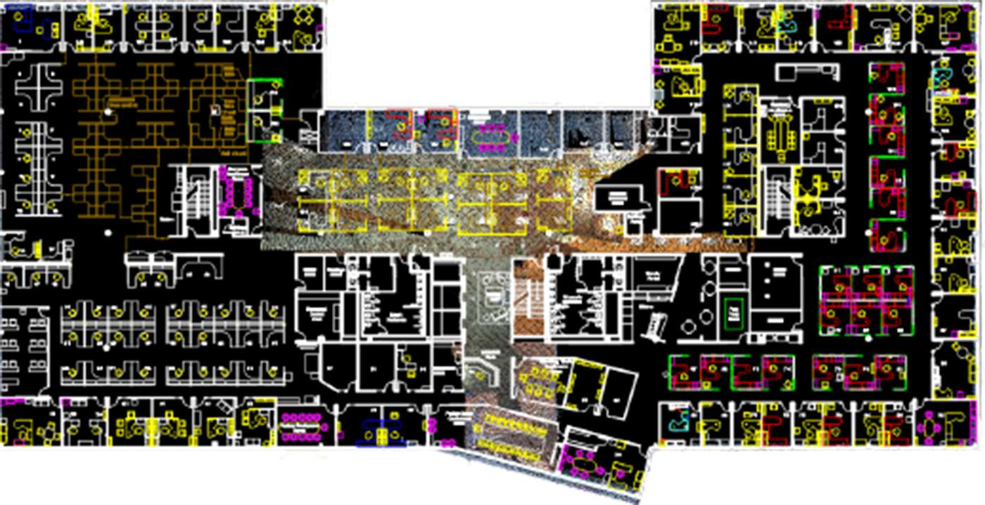 Floor plan generated with point cloud data.