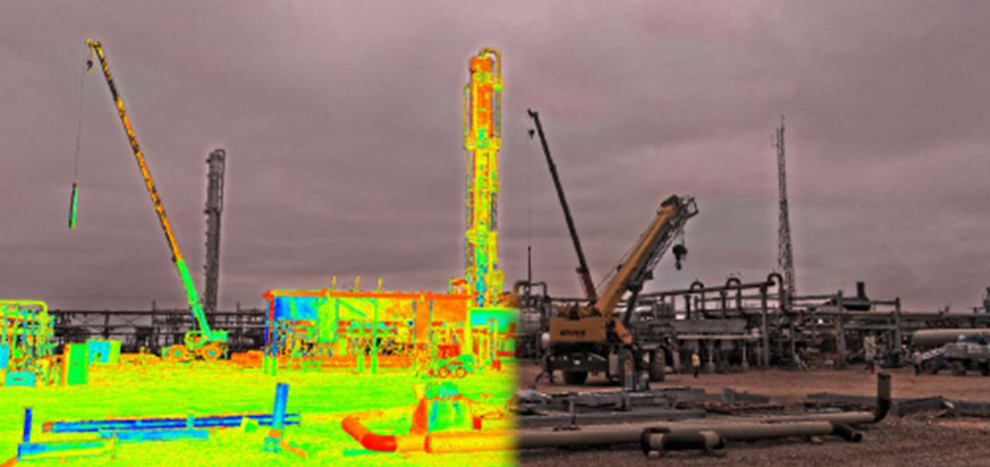 Hue-saturated point cloud merged with a high-definition image of a construction site taken with our scanner.