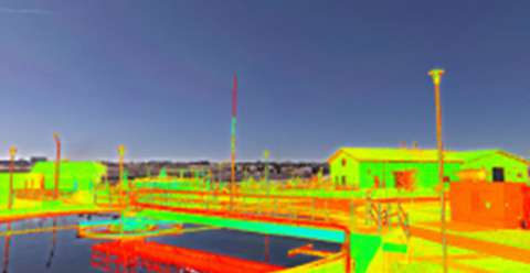 Hue-saturated point cloud with background image.